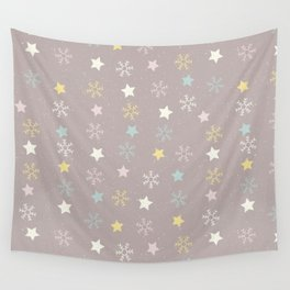 Pastel brown pink yellow Christmas snow flakes stars pattern Wall Tapestry