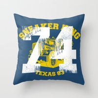 sneaker Throw Pillows featuring Sneaker King by Kristian Boserup