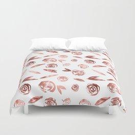 Rose Gold Roses Rosette Pattern Pink on White Duvet Cover