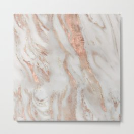 Rose-gold marble Metal Print