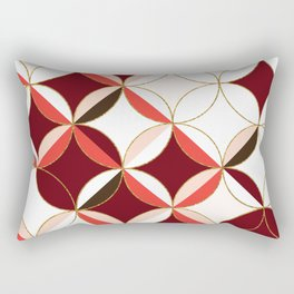 Floral Circle Pattern Inspired by Mid Century Modern Design: Red Pink and Gold Foil Rectangular Pillow