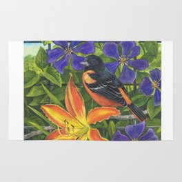 Northern Oriole and Day Lily Rug
