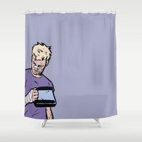 "clint eastwood Shower Curtains featuring Clint Barton -  ""Good boy"" by wasabinokiki"