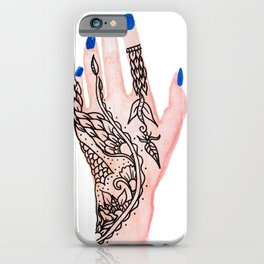 Modern watercolor hand  floral henna tattoo blue nails iPhone Case