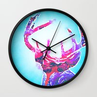 antlers Wall Clocks featuring Antlers by Lim Sahar
