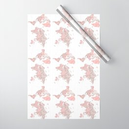 """Highly detailed world map in dusty pink and grey watercolor, """"Piper"""" Wrapping Paper"""