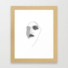 one line portrait - noir Framed Art Print