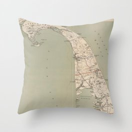 Vintage Map of Lower Cape Cod (1891) Throw Pillow