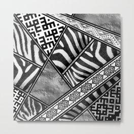 Zebra Animal Print with Ethnic Ornaments Metal Print