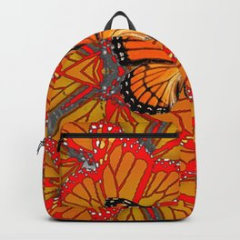 ORANGE MONARCH BUTTERFLY & RED WINGS ABSTRACT FROM SOCIETY6 BY SHARLESART. Backpack
