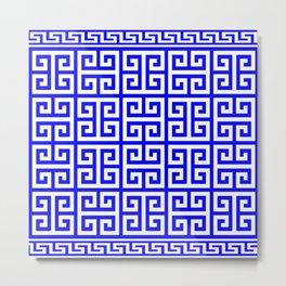Greek Key (Blue & White Pattern) Metal Print