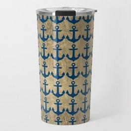 Nautical navy blue faux gold modern anchor pattern Travel Mug