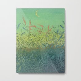 Pan Berlin - 1896-1897 Beautiful Turquoise Sunset Landscape Wheat Field With Moon Metal Print