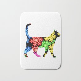 Rainbow snowflake cat Bath Mat
