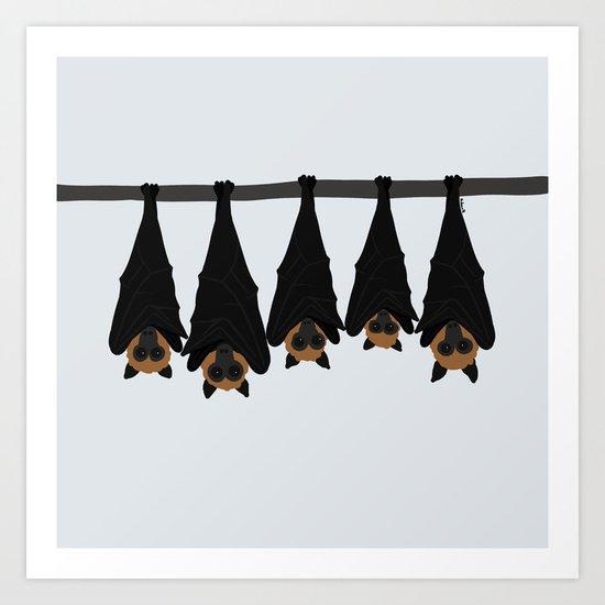 Flying foxes Art Print