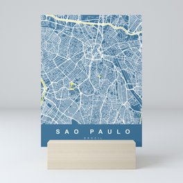 Sao Paulo City Map | Brazil | Blue | More Colors, Review My Collections Mini Art Print
