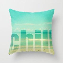 Chill - Photograph - Ocean, beach, waves Throw Pillow