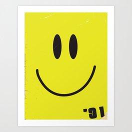 Acid house '91 vintage smiley face Art Print