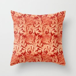 Jacobean Flower Damask, Mandarin and Light Orange Throw Pillow
