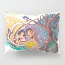 Boy and Girl in Love Sail Off Into the Sky on Adventure Pillow Sham