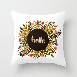Hello flowers and branches - ochre and sap green Throw Pillow