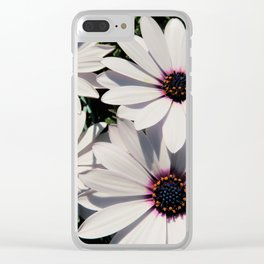 white daises with blue eyes Clear iPhone Case