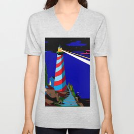 A Night at the Lighthouse with Search Light Active Unisex V-Neck