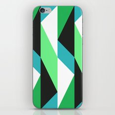 Turquoise, black & green triangles pattern iPhone & iPod Skin