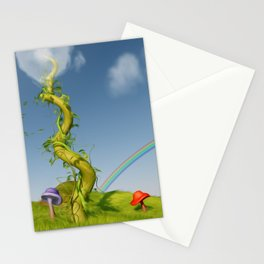 Whimsical Beanstalk Art Stationery Cards
