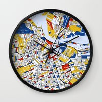 amsterdam Wall Clocks featuring Amsterdam by Mondrian Maps
