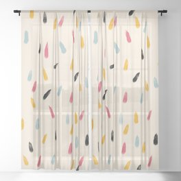 Abstract Colorful Retro Colored Rain Drops - Imugi Sheer Curtain