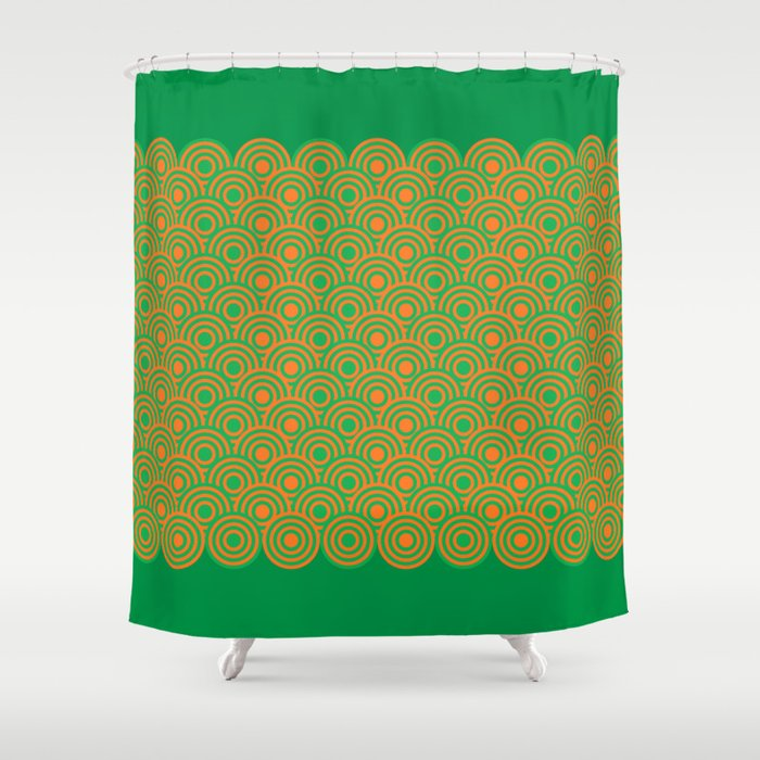 Op Art Pattern Retro Circles In Green And Orange Shower Curtain