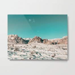 Vintage Picture Desert Snow // Winter Teal Blue Sky Red Rock Canyon Wilderness Park Photograph Metal Print