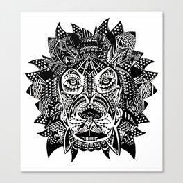 Tribal Inspired Lion ink illustration Canvas Print
