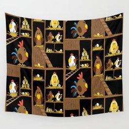 Chicken Coop - by Kara Peters - chickens, farm, illustration, birds Wall Tapestry