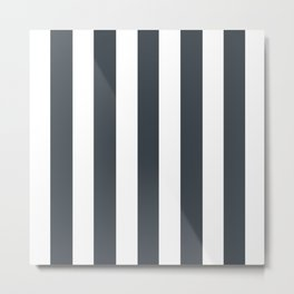 Arsenic grey - solid color - white vertical lines pattern Metal Print