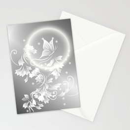 Floral Butterfly Silver Stationery Cards