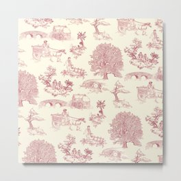 Shire Toile - Red Metal Print