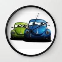 volkswagen Wall Clocks featuring Volkswagen beetle by cjsphotos
