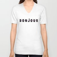 bonjour V-neck T-shirts featuring Bonjour by Galaxy Eyes