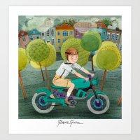 motorcycle Art Prints featuring Motorcycle by Rebekka Ivacson