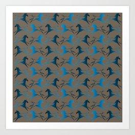 Blue Brown War Horse Art Print