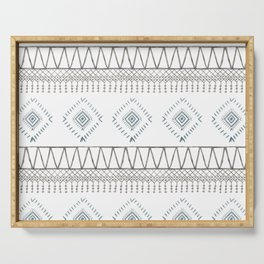 Blue Beige Aztec Serving Tray