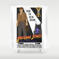 indiana jones Shower Curtains featuring Indiana Jones and the Ghost Who Walks by T/4: