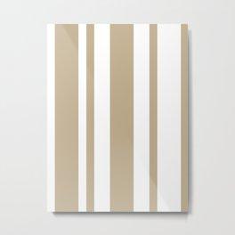Mixed Vertical Stripes - White and Khaki Brown Metal Print
