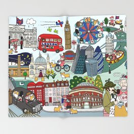 The Queen's London Day Out Throw Blanket