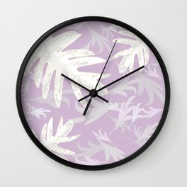 Trio palm leaves White lilac purple autumn fall tropical pattern buyart ,Christmas-gifts, society6 Wall Clock