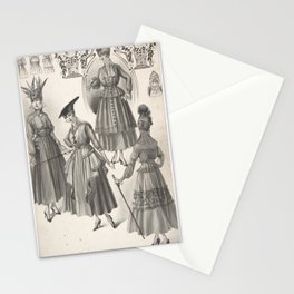 Designs for Four Women's Dresses with Full Skirts Attributed to A. Foa Stationery Cards