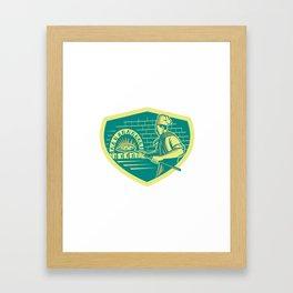 Pizza Maker Holding Peel Crest Woodcut Framed Art Print