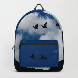 Sky, Face Profile Mountains and Black Birds Backpack